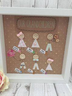 Our Grandchildren Box Frame Gift Birthday Candy Posters, Candy Bar Posters, Box Frame Art, Box Frames, Christmas Pebble Art, Christmas Crafts, Mummy Crafts, Crafts For Kids, Diy Mother's Day Picture Frame