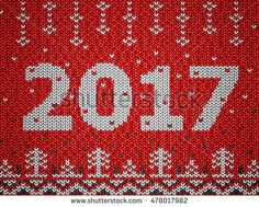 Card of New Year 2017 with knitted texture. Christmas jumper fragment with 2017 New Year. Vector illustration for new years day, christmas, winter holiday, new years eve, knitting, silvester, etc