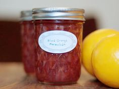 Blood Orange Beaujolais Marmalade Recipe with sugar, blood orange, beaujolais, baking soda, pectin, unsalted butter