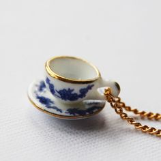 Vintage Teacup necklace- this reminds me of my grandma.