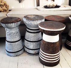 Painted Lozi stools,handcarved in Zambia