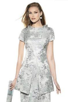 Vestido recto adamascado 3477 Teresa Ripoll
