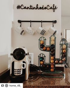 Have a nice day with this beautiful little cafe @ Be inspired and create a . Coffee Bar Home, Home Coffee Stations, Coffee Corner, Coffee Type, Coffee And Books, Home Organisation, 49er, Cafe Bar, First Home
