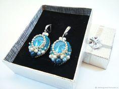 Купить Голубые серьги с кристаллами и жемчугом Сваровски в интернет магазине на Ярмарке Мастеров