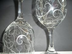 Etched wine glasses with scroll. Set of 2. Wedding by lovealush, $29.95