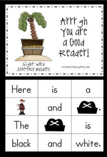 cute pirate themed sentence building activity ( freebie :o) from Ketchen's Kindergarten
