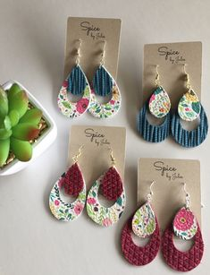 Beautiful Floral Leather Teardrop Cutout Earrings, Handcrafted, Genuine Leather, Spring Floral Design, Super Lightweight Earrings I will design your jewelry product in cad Diy Leather Earrings, Diy Earrings, Leather Jewelry, Leather Craft, Teardrop Earrings, Gold Earrings, Cute Jewelry, Jewelry Crafts, Handmade Jewelry