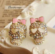 Min.order is $10 (mix order)Golden Alloy Rhinestone Skull Skeleton Bowknot Stud Earrings Free Shipping  E168 $0.80
