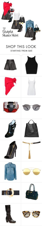 """The Staple Skater Skirt"" by simply-one ❤ liked on Polyvore featuring Rosie Assoulin, Splendid, Alberta Ferretti, Ray-Ban, GUESS, Jil Sander, Tom Ford, Yves Saint Laurent, Mykita and Roksanda"