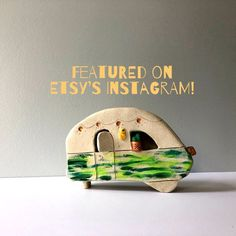 ROAM Ceramic Camper Canned Ham Camper in green home decor Etsy Christmas Village Display, Christmas Tree Themes, Camping Nursery, Canned Ham Camper, Copper Wire Lights, Forest Nursery, Green Home Decor, Bottle Brush Trees, Camping Car
