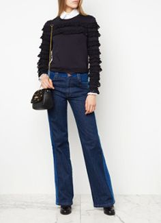 See By Chloé High rise flared jeans met zachte bies