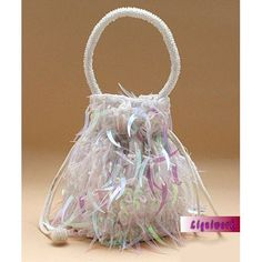 White Sequin Beaded Soft Wedding Bridal Party Ball Bags Purses Discount  SKU-1110480