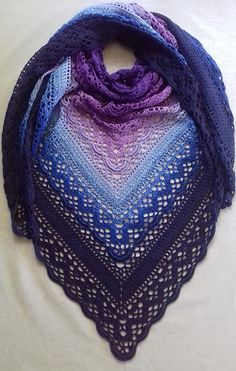 This shawl design is dedicated to the memory of Klaziena McKinlay Swanson (nee Greve) — beloved mother of Sharon Hill of the Southside Sweeties Crochet Group, Beenleigh Bowls Club.Knitting Patterns Shawl Ravelry: Klaziena Shawl pattern by Kirsten Bishop Diy Tricot Crochet, Poncho Crochet, Crochet Bolero, Crochet Shawls And Wraps, Crochet Scarves, Crochet Clothes, Crochet Hats, Ravelry Crochet, Knitting Scarves