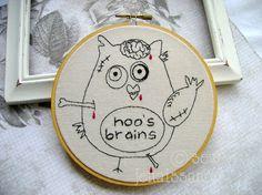 Embroidery PDF Pattern Zombie Owl by sewjenaissance on Etsy, $5.00