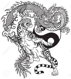 Black and white tattoo vector illustration included… Chinese dragon versus tiger. Black and white tattoo vector illustration included Yin Yang symbol Dragon Tiger Tattoo, Dragon Tattoo Images, Tiger Tattoo Sleeve, Dragon Tattoo For Women, Dragon Tattoo Designs, Dragon Yin Yang Tattoo, Tattoo Ink, Arm Tattoo, Sleeve Tattoos