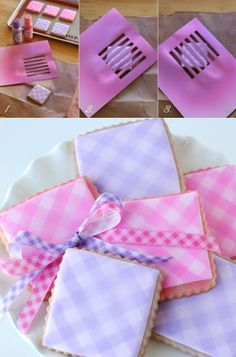 How to make gingham sugar cookies (Glorious Treats). Soft and pretty.