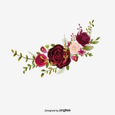 Dark Red Romantic Burgundy Flower Cluster Illustration Elements PNG and PSD Frame Floral, Flower Frame, Flower Art, Adobe Photoshop, Floral Drawing, Watercolor Flowers, Hd Flowers, Flowers Drawn, Red Roses Background