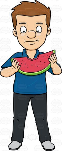 A Man Enjoying A Bite On A Watermelon Slice #bit #bite #bitten #black #civilian #consumption #darkhair #darkhaired #eating #eats #feeding #food #fruit #human #humanbeing #individual #ingestion #intake #leggings #male #maleperson #man #mortal #munch #nutrient #pants #person #shirt #shoes #single #slice #sliceofwatermelon #snack #somebody #someone #uptake #watermelon #vector #clipart #stock
