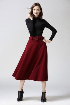 2bc9c26d0b5f6d Fashion A-line Pure Color Woolen Long Skirt With Belt On