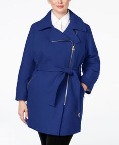 fe984fcea32e2 MICHAEL KORS Michael Michael Kors Plus Size Asymmetrical Belted Walker Coat.   michaelkors  cloth