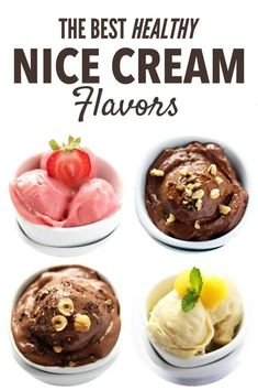 Enjoy healthy frozen treats in the form of Banana Nice Cream. This refreshing dessert is vegan, dairy free, has no added sugar and endless flavor options. We have compiled the best nice cream recipes…More Köstliche Desserts, Frozen Desserts, Healthy Dessert Recipes, Real Food Recipes, Frozen Treats, Ww Recipes, Vegan Vitamix Recipes, Paleo Sweets, Paleo Dessert
