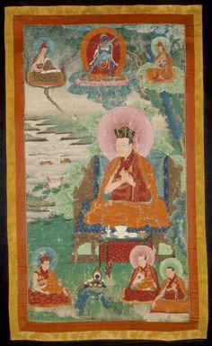 The Fifth Karmapa, Dezhin Shegpa (1384-1415) Eastern Tibet, circa 18th century Paintings Mineral pigments and gold on cotton cloth Image: 31 1/16 x 17 1/16 in. (78.8 x 43.2 cm) Gift of Christian Humann (M.71.98.2)
