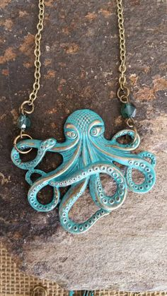 Check out this item in my Etsy shop https://www.etsy.com/listing/464822632/large-patina-octopus-necklace-with