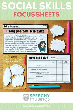 Social Skills Focus Sheets are a great way to target skills in a mixed group! This resource is designed for direct instruction from the teacher, discussion time, and then reflection time for each student. I specifically use this resource for students that have pragmatic deficits, so they can focus on one skill at a time. This resource could be used for elementary students, middle school students, or even high school students! Social Skills Activities, Speech Therapy Activities, Speech Language Pathology, Speech And Language, Direct Instruction, Positive Self Talk, High School Students, How Are You Feeling, Teaching