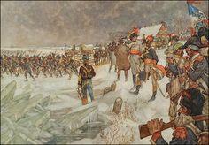 Pichegru met zijn Franse troepen trekken over de lek in 1795