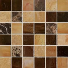 Mocha Brown 1'' x 1'' Glass and Stone Glossy Tile