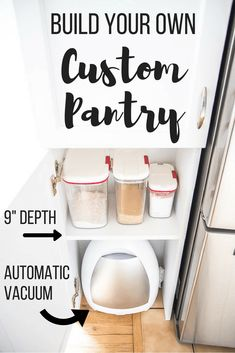 How to build a pantry Can't afford custom furniture? I'll show you how to make a P … How to Build a Pantry Cabinet Can't afford custom cabinetry? I'll show you how to build a pantry that will fit that awkward space! Building your own cabinet is as easy Built In Pantry, Pantry Cupboard, Kitchen Pantry Cabinets, Kitchen Storage, Open Pantry, Small Pantry, Storage Cabinets, Pantry Design, Cabinet Design
