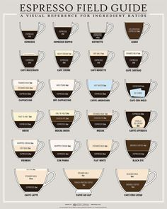 espresso field guide - visual reference for ingredient ratios #infographic #coffee #visualization