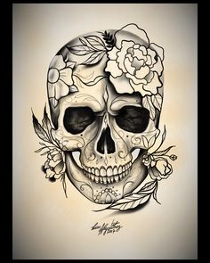 Skull stencil, sugar skull art, sugar skulls, pretty skull tattoos, sugar s Pretty Skull Tattoos, Skull Tattoo Flowers, Skull Girl Tattoo, Sugar Skull Tattoos, Skull Tattoo Design, Tribal Tattoos, Body Art Tattoos, Girl Tattoos, Sleeve Tattoos
