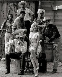 Frank Taylor, Arthur Miller, John Huston, Eli Wallach, Montgomery Clift, Marilyn Monroe, Clark Gable on the set of The Misfits c.1961