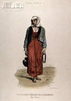 DIDIER (painter) GAITE (engraver) Female peasants attire from Roumeli coloured copper engraving, 20 x 10 cm Folk Costume, Costumes, Greek Art, Serbian, Bulgarian, Traditional Outfits, Greece, Copper, Female