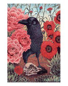 "Crow Effigy 8x10"" Print angela rizza  http://angelarizza.com http://angelarizza.tumblr.com https://www.facebook.com/AngelaRizzaIllustration Twitter: Canvasbird"