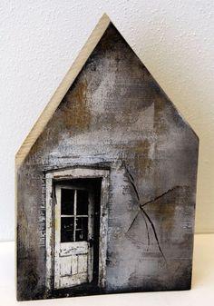 Saskia Obdeijn - oak wood print and acrylic Clay Houses, Ceramic Houses, Miniature Houses, Bird Houses, Wooden Houses, New York Loft, Pallet Art, Driftwood Art, Little Houses