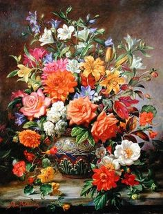 September Flowers, Symbols of Hope and Joy (oil on canvas)  by Albert Williams