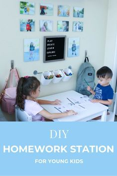 How to setup a homework station for young kids in a small space. DIY homework station for children. #homeworkstation