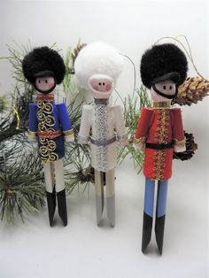 Your place to buy and sell all things handmade Nutcracker Christmas, Christmas Ornaments To Make, Handmade Christmas, Christmas Crafts, Nutcracker Crafts, Clothes Pin Ornaments, Clothespin Dolls, Clothespin Crafts, Christmas Soldiers