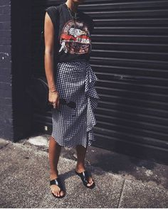 Ruffled skirt and graphic tee