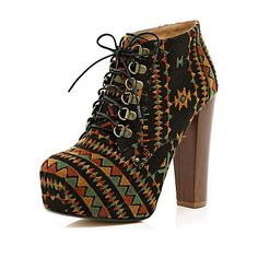 these grey aztec print lace up platform ankle boots make any outfit look effortlessly cool, heel height 13cm