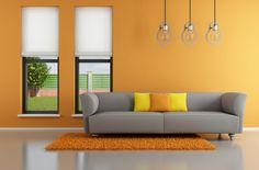 warme Wandfarben im modernen Wohnzimmer - Orange
