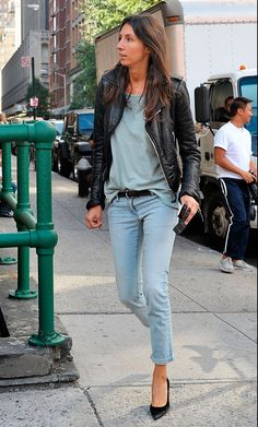 Basics with a leather jacket and black pumps.