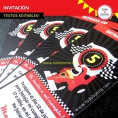 Invitaciones de autos de carreras para imprimir