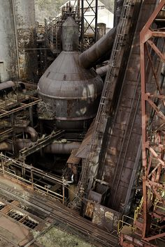 Abandoned Places Artwork U. Fantasy Landscape, Urban Landscape, Abandoned Buildings, Abandoned Places, Abandoned Factory, Steel Mill, Industrial Architecture, Old Factory, Industrial Photography