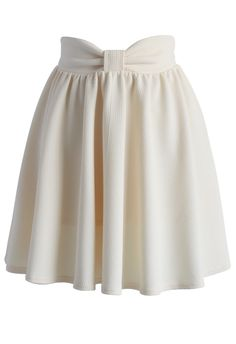 Delight My Bow Skater Skirt in Beige - New Arrivals - Retro, Indie and Unique Fashion