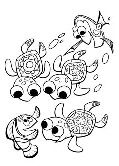 Finding Nemo coloring pages turtles for kids, printable free