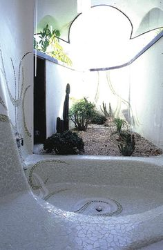 I' would love this: a tub in the shower/steam room with window for natural light/mini garden.