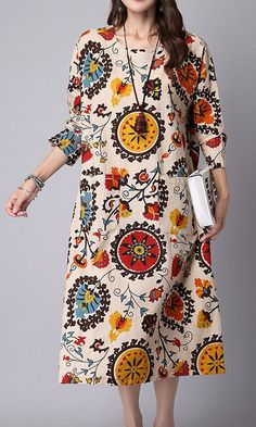 Women loose fit over plus size retro ethnic flower dress midi tunic pregnant Source by dress casual Linen Dresses, Casual Dresses, Summer Dresses, Straight Dress, Mode Hijab, Loose Fit, Flower Dresses, Maternity Dresses, Plus Size Dresses